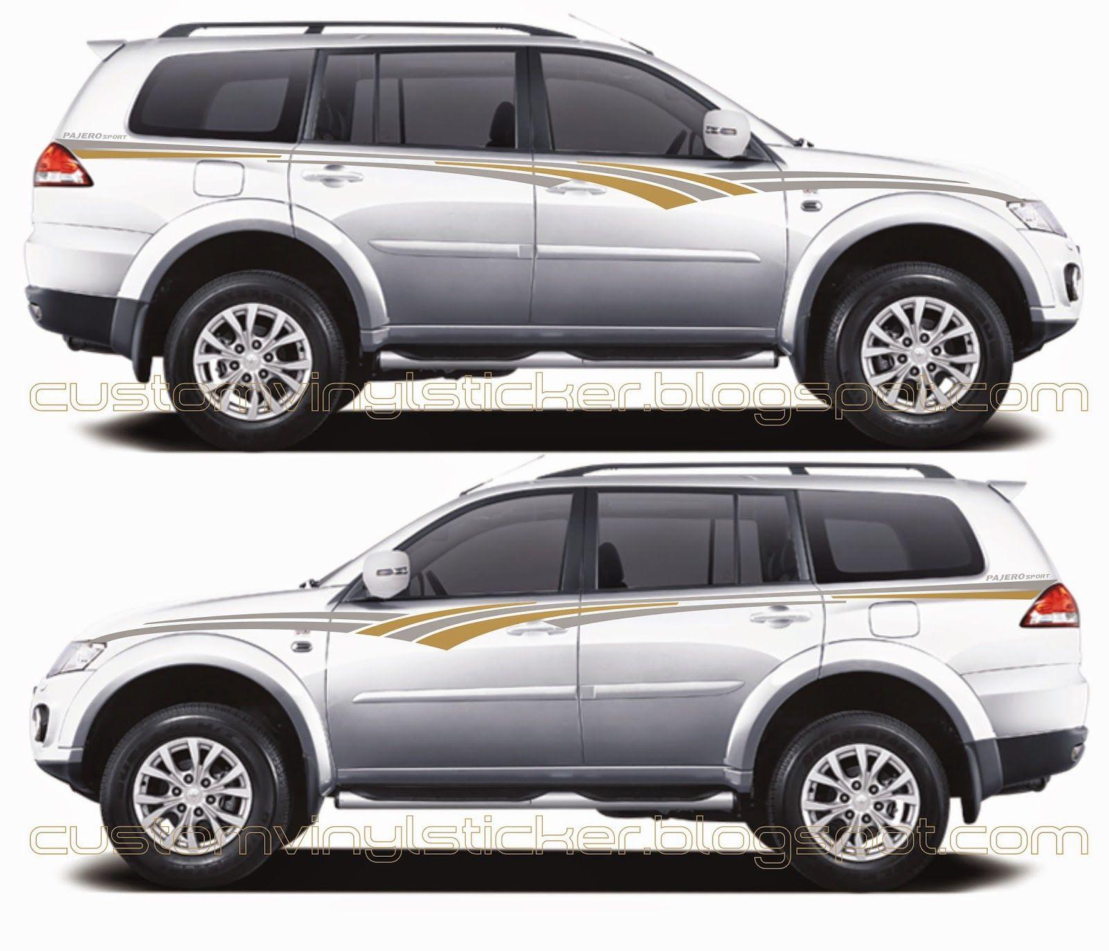 Bike stickers design discover - Mitsubishi Pajero White Grey Gold Strip Sticker Concept