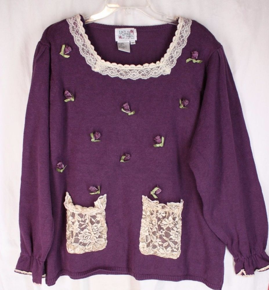 Vintage Lacy Afternoon by Shell Kepler Purple Ribbon Rose & Lace Trim Sweater 3X #lacyafternoon #Sweater
