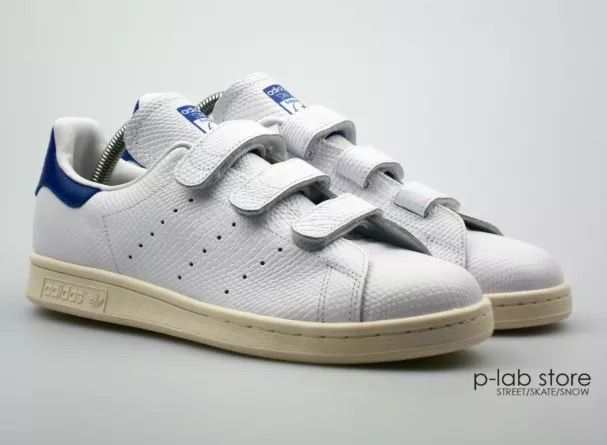 online store b9f0e 1534e Adidas Stan Smith velcro white/blue snake leather | Favorite ...