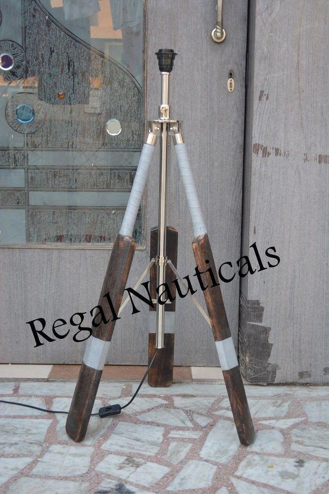 Chrome Tripod Lamp Stand Vintage Marine Floor Lamp Wooden