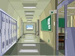 Anime School Corridor Cenario Anime Fundo De Animacao Cenario