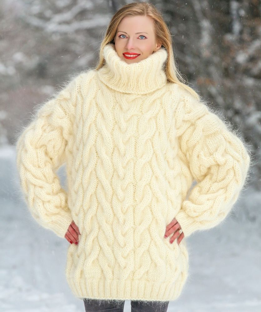 Ivory hand knit mohair sweater cable knitted fuzzy thick handmade ...