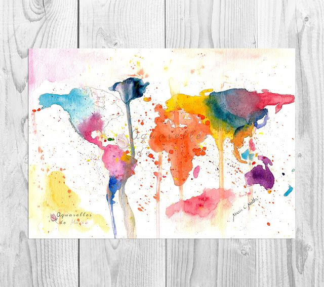 Free Printable World Map Watercolor Painting Clinic Printable