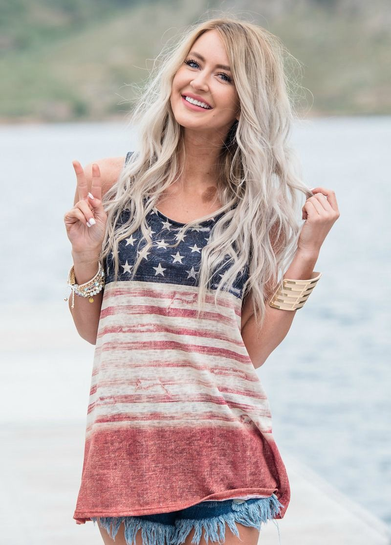 Top, Tank top, American Flag top, Striped Top, Stars Top, Cute, fashion, Online Boutique