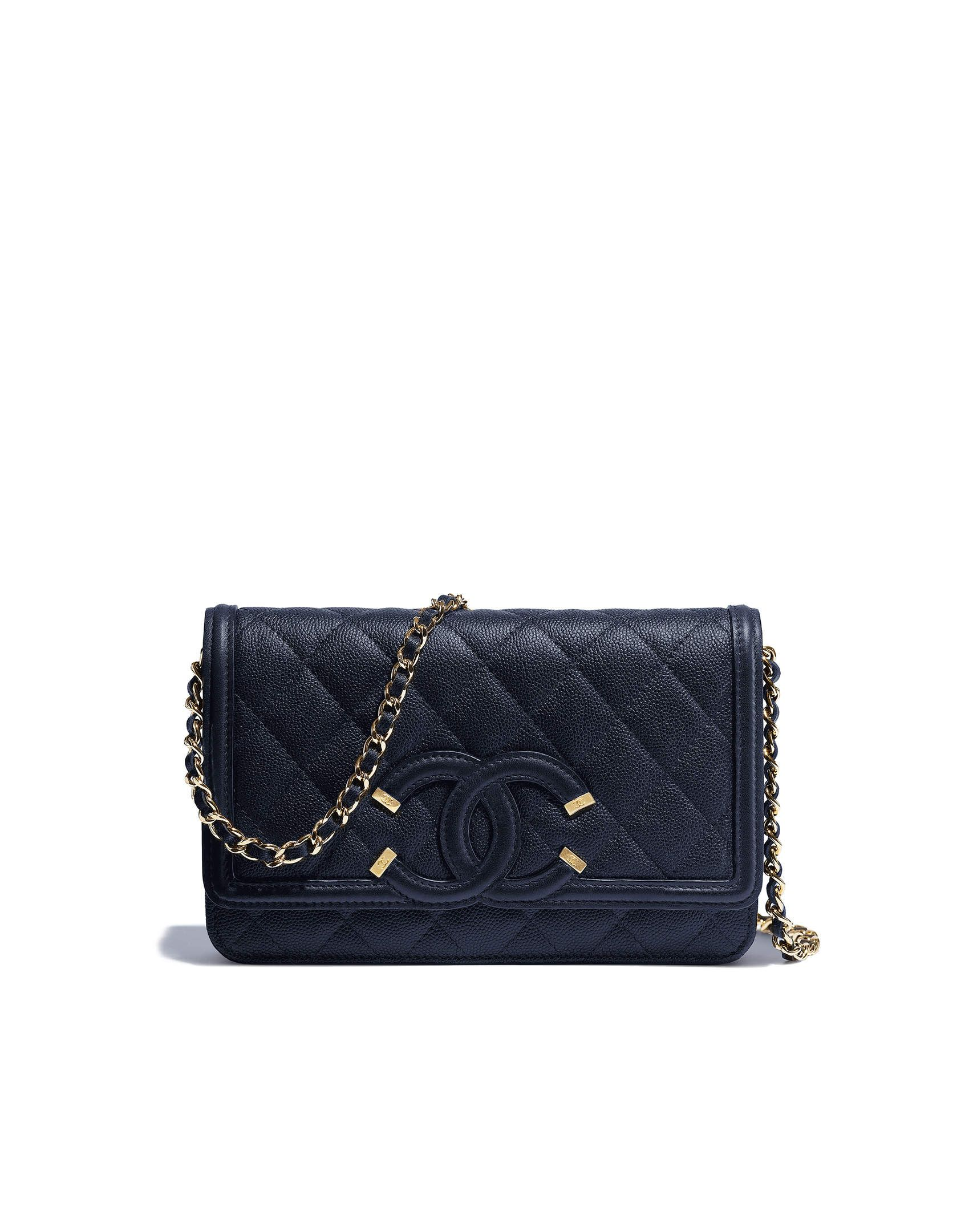51942af1c241db Wallet on chain, grained calfskin & gold-tone metal-navy blue - CHANEL $2500