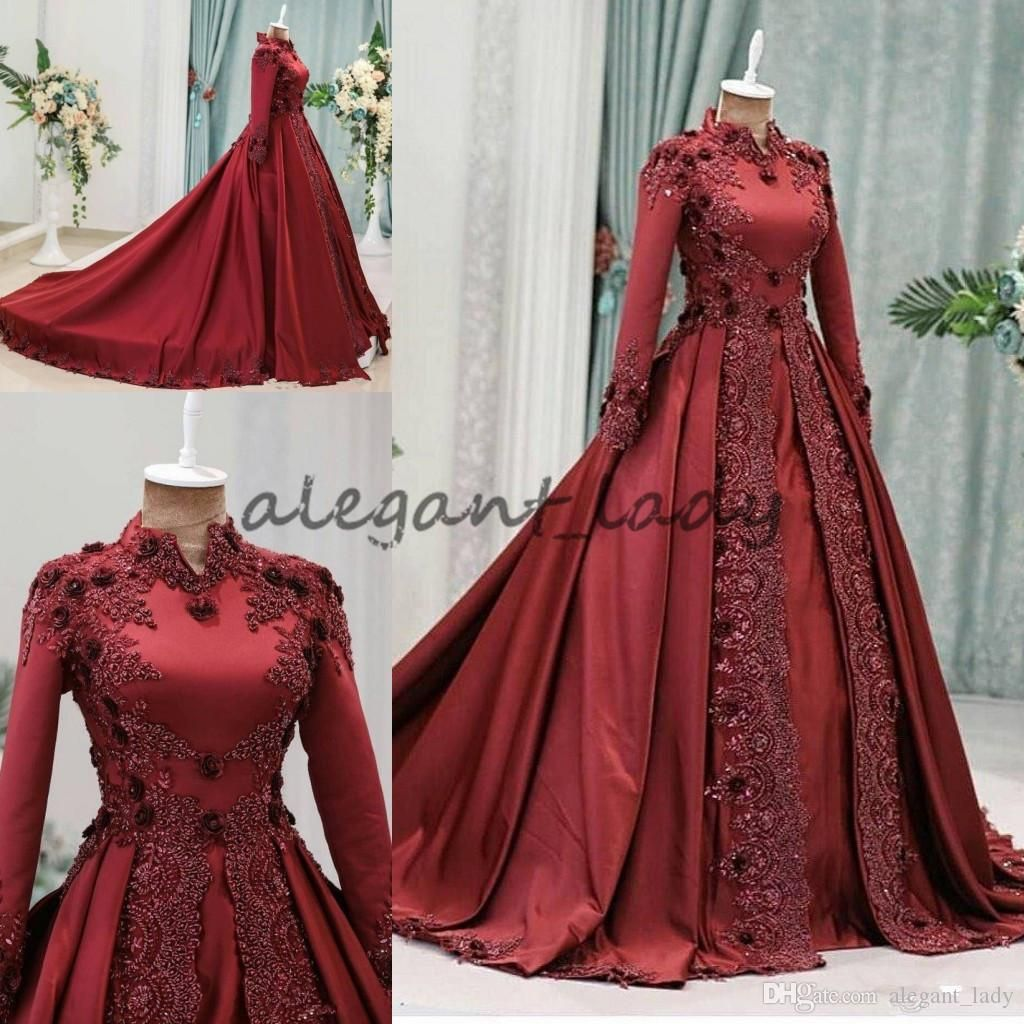 eb0ccbcd8bdc0 Dark Red Arabic Muslim Evening Dresses With Long Sleeves Beaded High ...