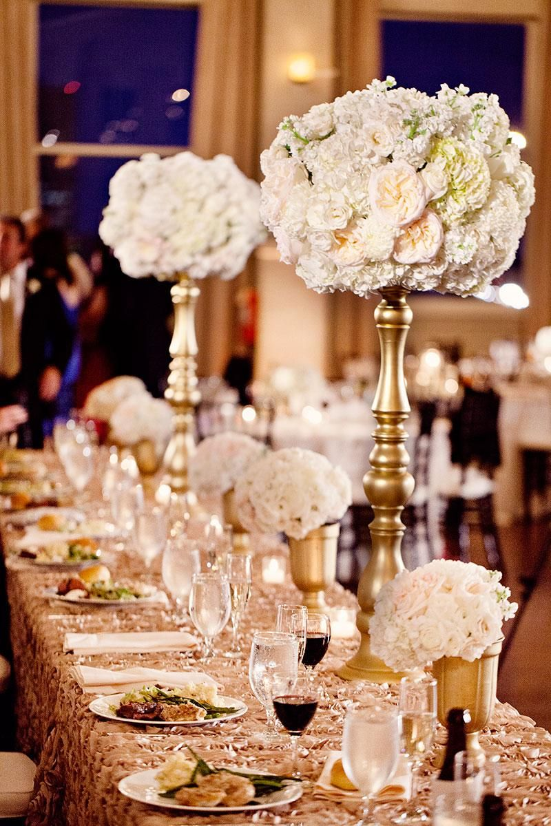 Glamorous Gold And White Centerpieces By Lush Couture Floral Photo By John Christopher Photog Gold Wedding Decorations Gold Ivory Wedding Gold Wedding Flowers