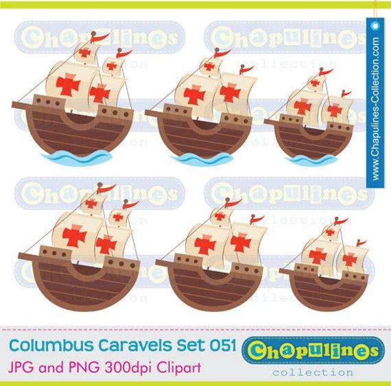 Clipart Columbus Ships Caravels La Niña, Pinta And Santa