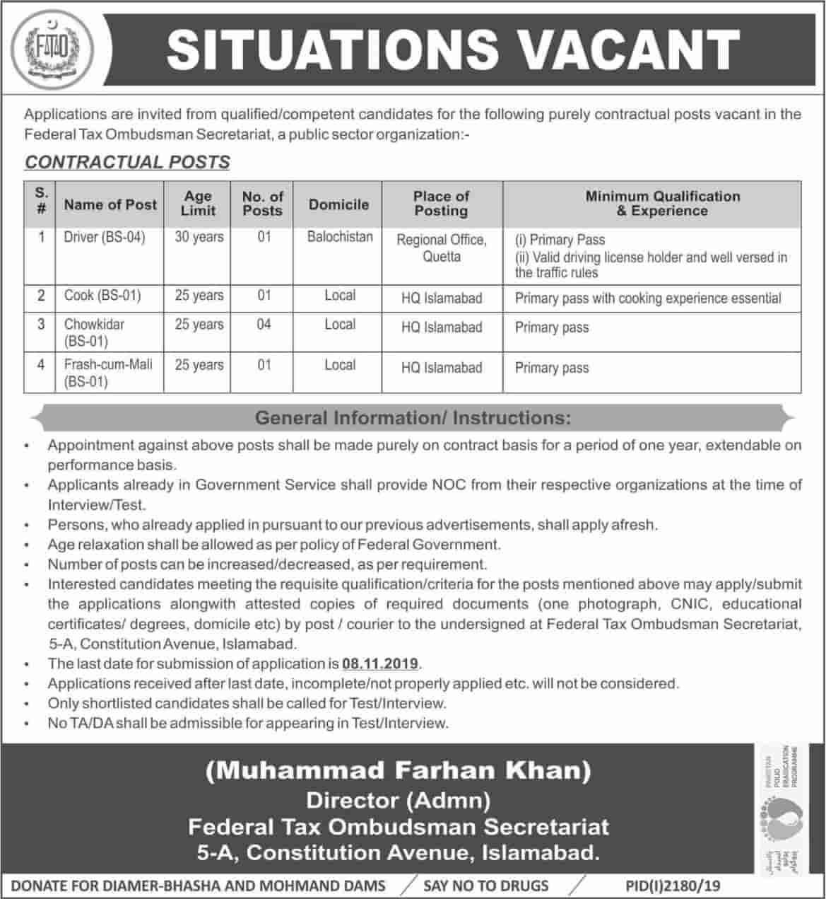 Federal Tax Ombudsman Secretariat FTO Islamabad Jobs 25
