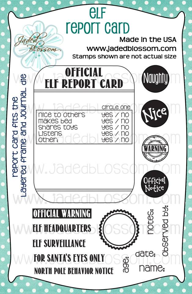 Elf Report Card Photopolymer Stamp For Card Making Elf Report Card Magic For Kids Cards