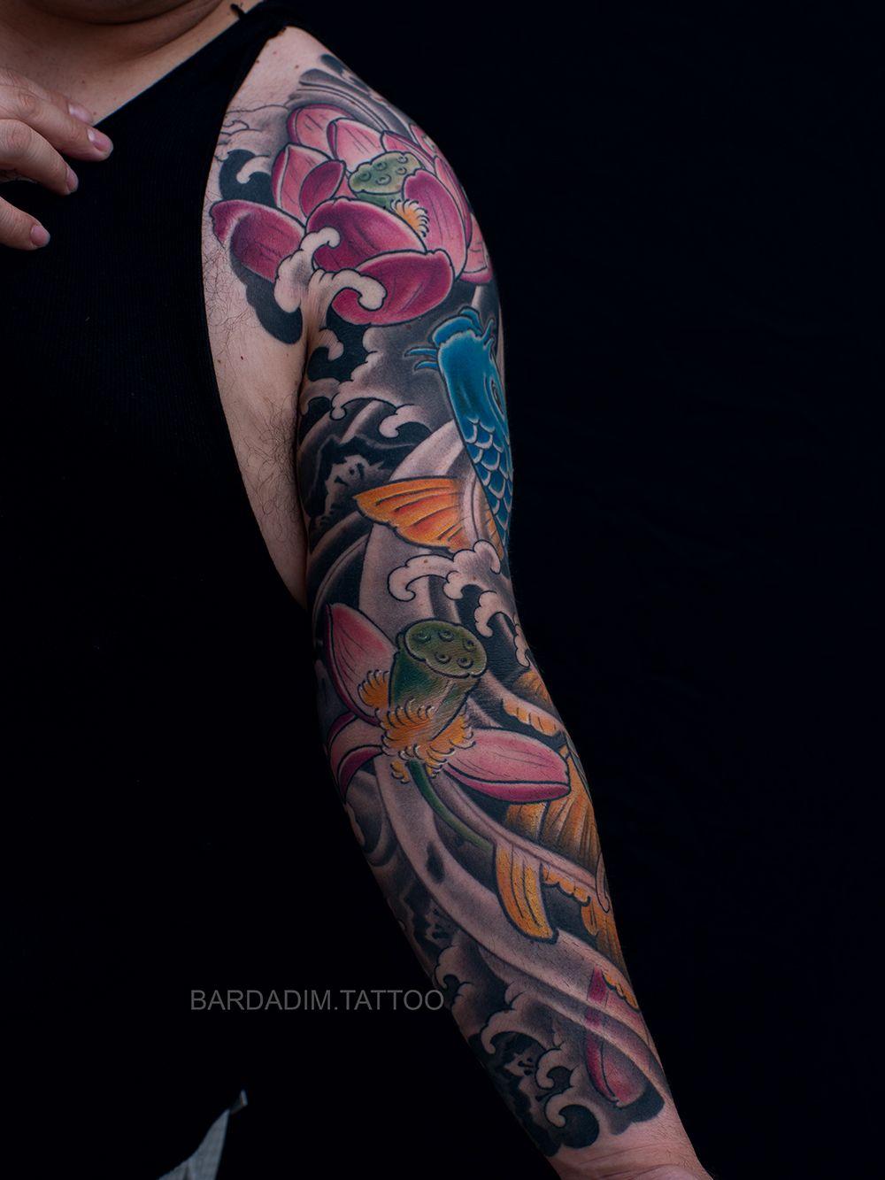 Japanese Sleeve Japanese Tattoo For Men Koi Tattoo Lotus Tattoo Traditional Japanese Sleeve Irezumi Japanese Tattoo Tattoos Japanese Tattoos For Men