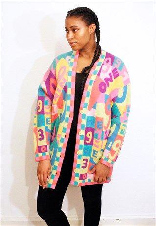 Vintage+Escada+bright+patterned+cardigan