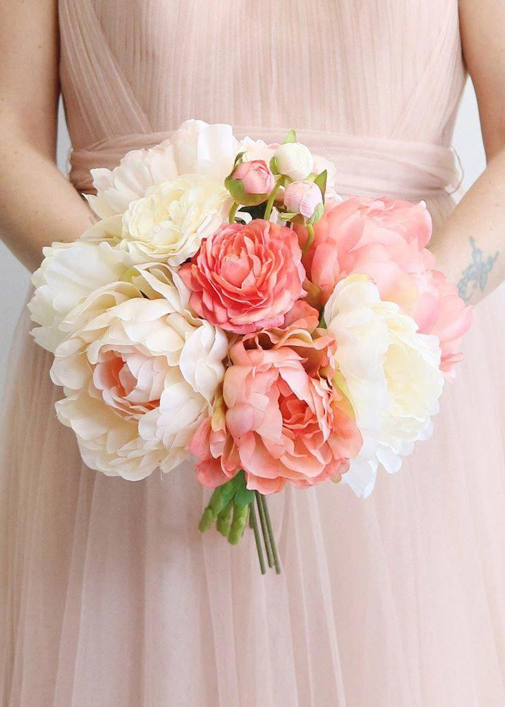 Blush Coral Silk Peony and Ranunculus Bouquet