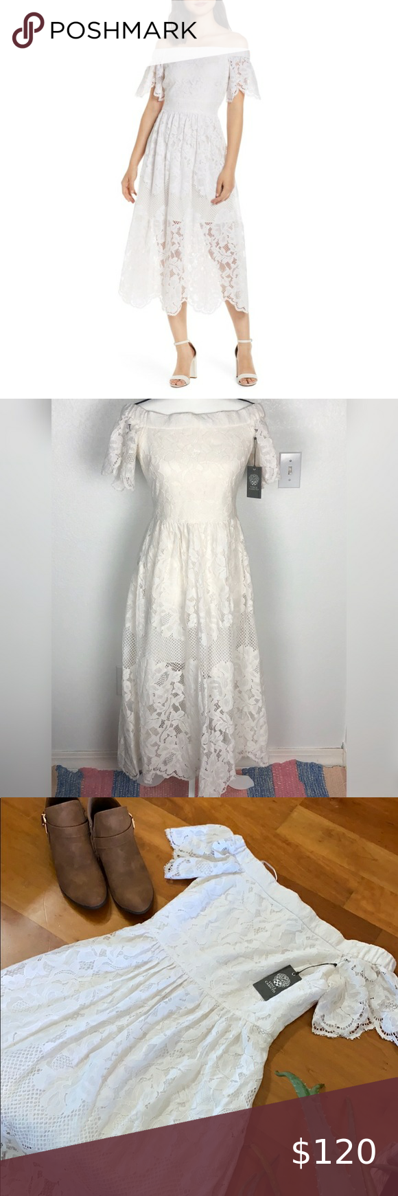 Nwt Vince Camuto White Lace Boho Dress Sz 4 Lace Dress Boho White Lace Dress Boho White Floral Lace Dress [ 1740 x 580 Pixel ]