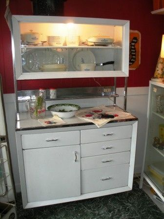Vintage+metal+hutch | Piece Light Up Metal Kitchen Hutch