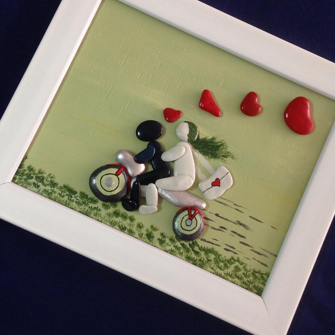 Nazeno On Instagram Frame Gift Hediyelik Pebbles Motosiklet Motosiklettutkusu Motosiklettutkunlari Handmade Ar Rock Crafts Pebble Art Art And Hobby