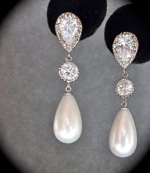 Bridal Jewelry Pearl Earrings Sterling Silver Long Drop Brides
