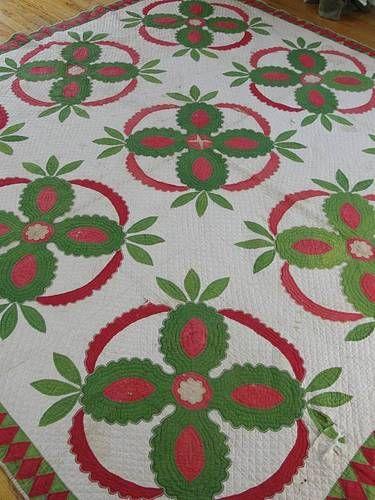Antique 1850s Red Green Pineapple Applique Quilt Worn | eBay