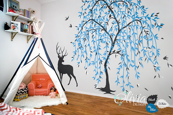 Large Baby Nursery Willow Tree Vinyl Wall Decal By Theoliviadesign