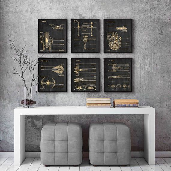 Set Of 6 Prints,Star Wars ,blueprint,parchment,Science,Student,Engineering,Print,Gift,Office Decor,Home  Decor #P227