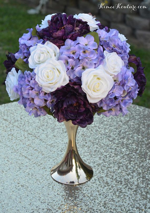Plum Lavender Ivory Wedding Centerpiece Arrangement Half Ball Etsy Flower Centerpieces Wedding Wedding Flower Arrangements Flower Centerpieces