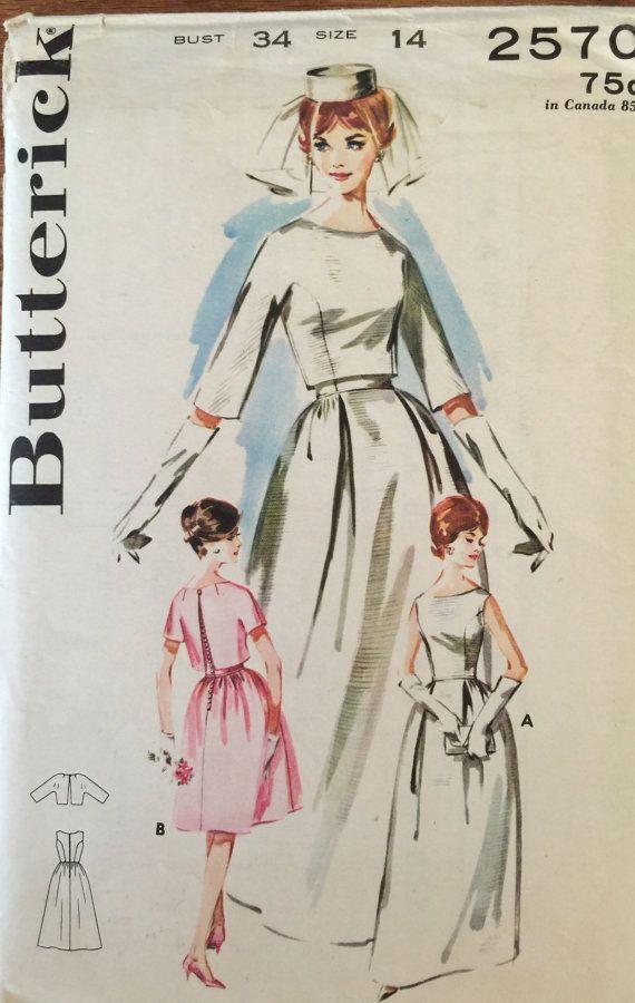 VTG 2570 Butterick (1963) misses\' bell skirted bridal gown. Size 14 ...