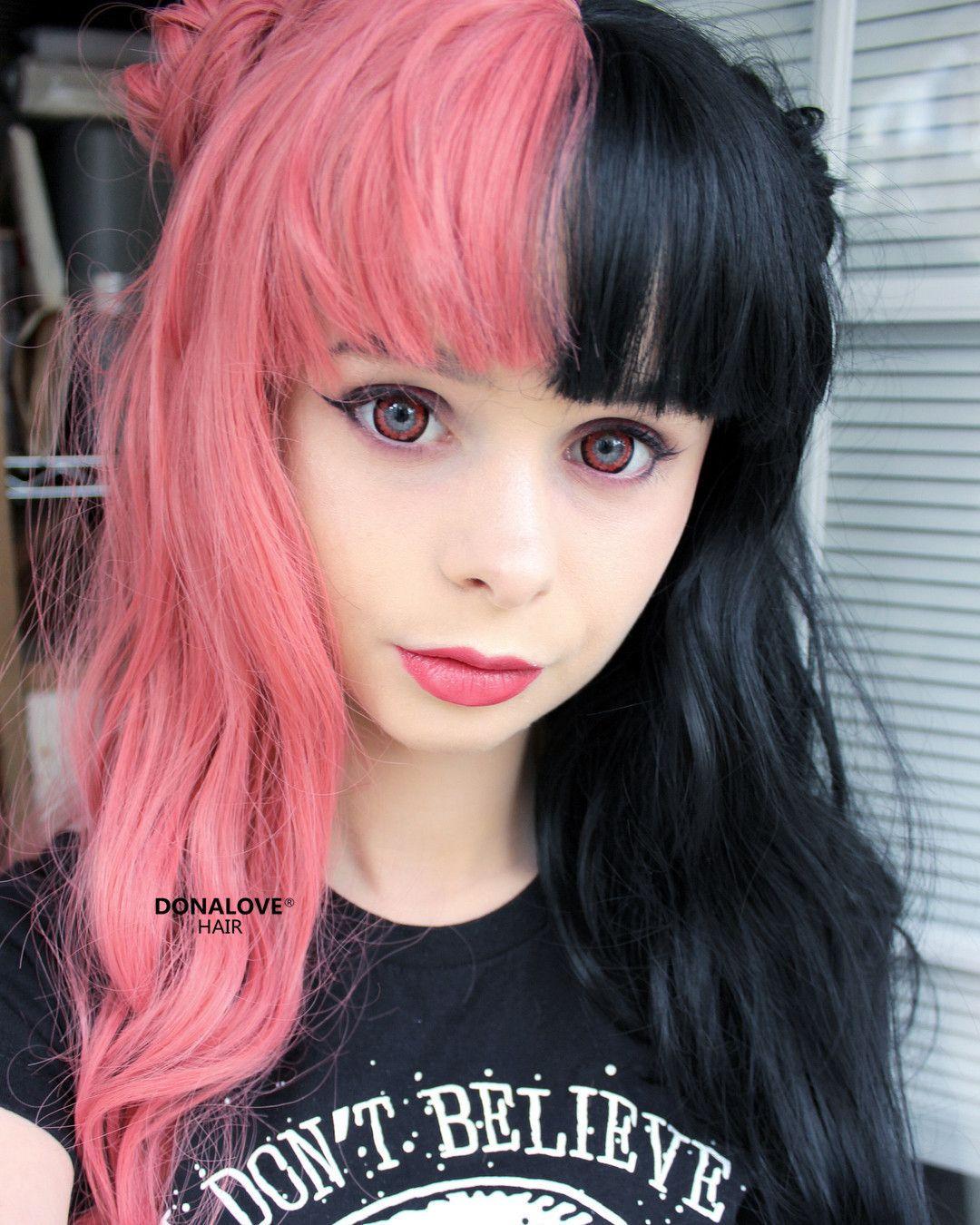 Halb Rosa Und Halb Schwarz Synthetische Perucke Sny088 Rosa Schwarz Pony Haar Haarfarbe Frisur Donalovehair Per Perucken Styling Kurzes Haar Haarfarben