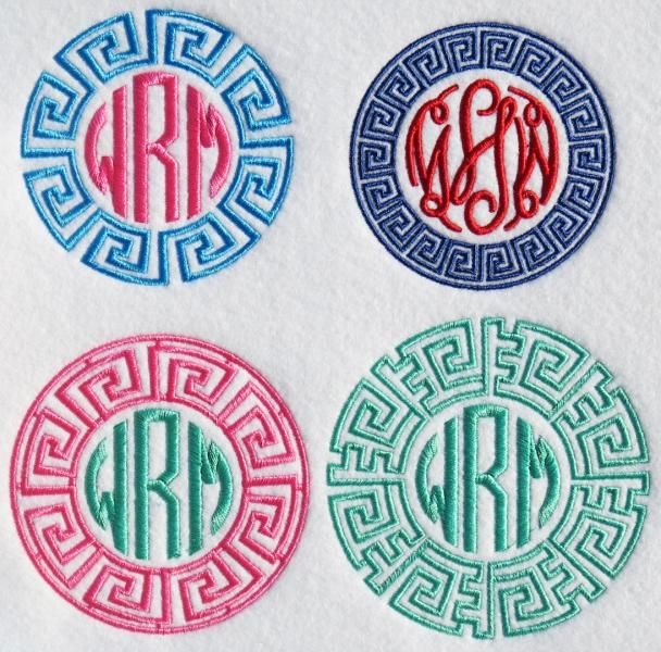 Greek Key Monogram Frame Embroidery Designs Apex Embroidery