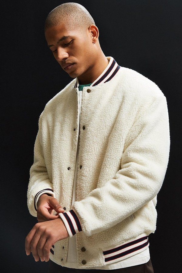 Urban Outfitters Uo Sherpa Varsity Jacket Latest Clothes For Men Mens Outfits Mens Jackets