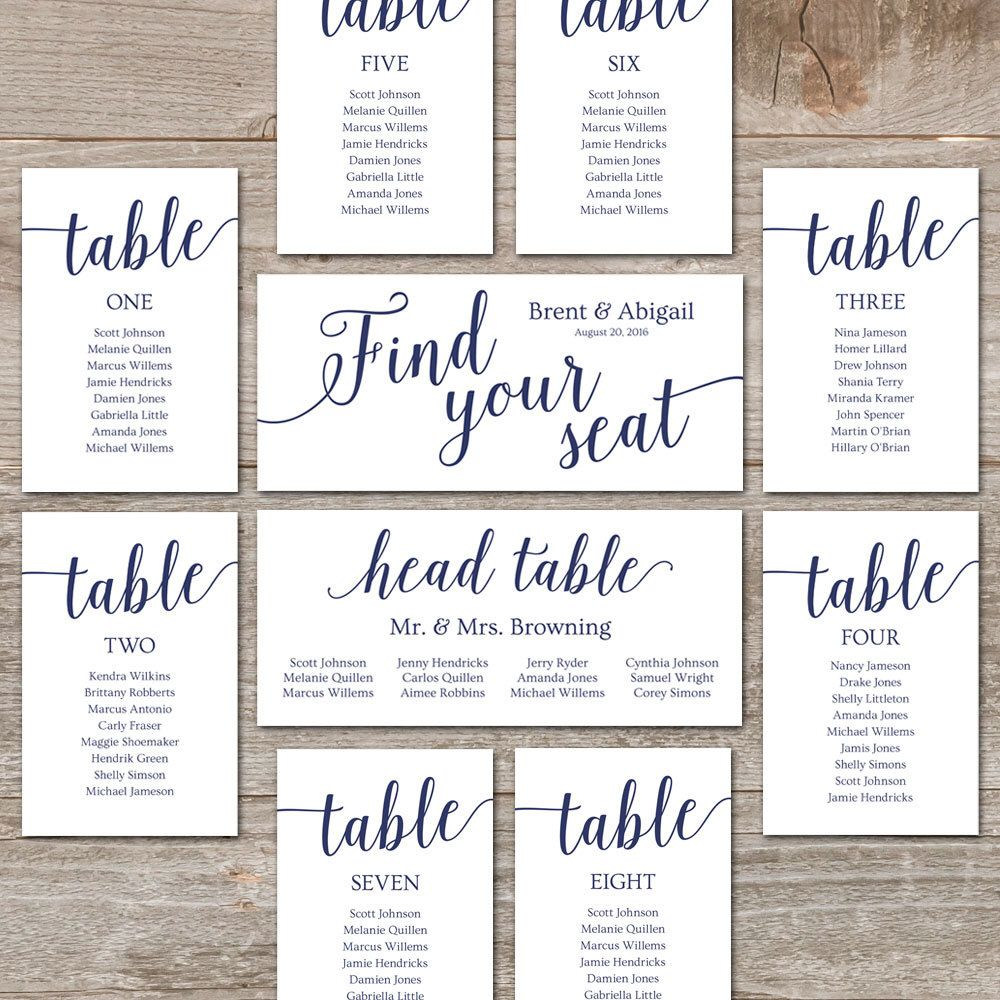 Navy Seating Chart Template // Wedding Seating Chart Cards, Editable ...