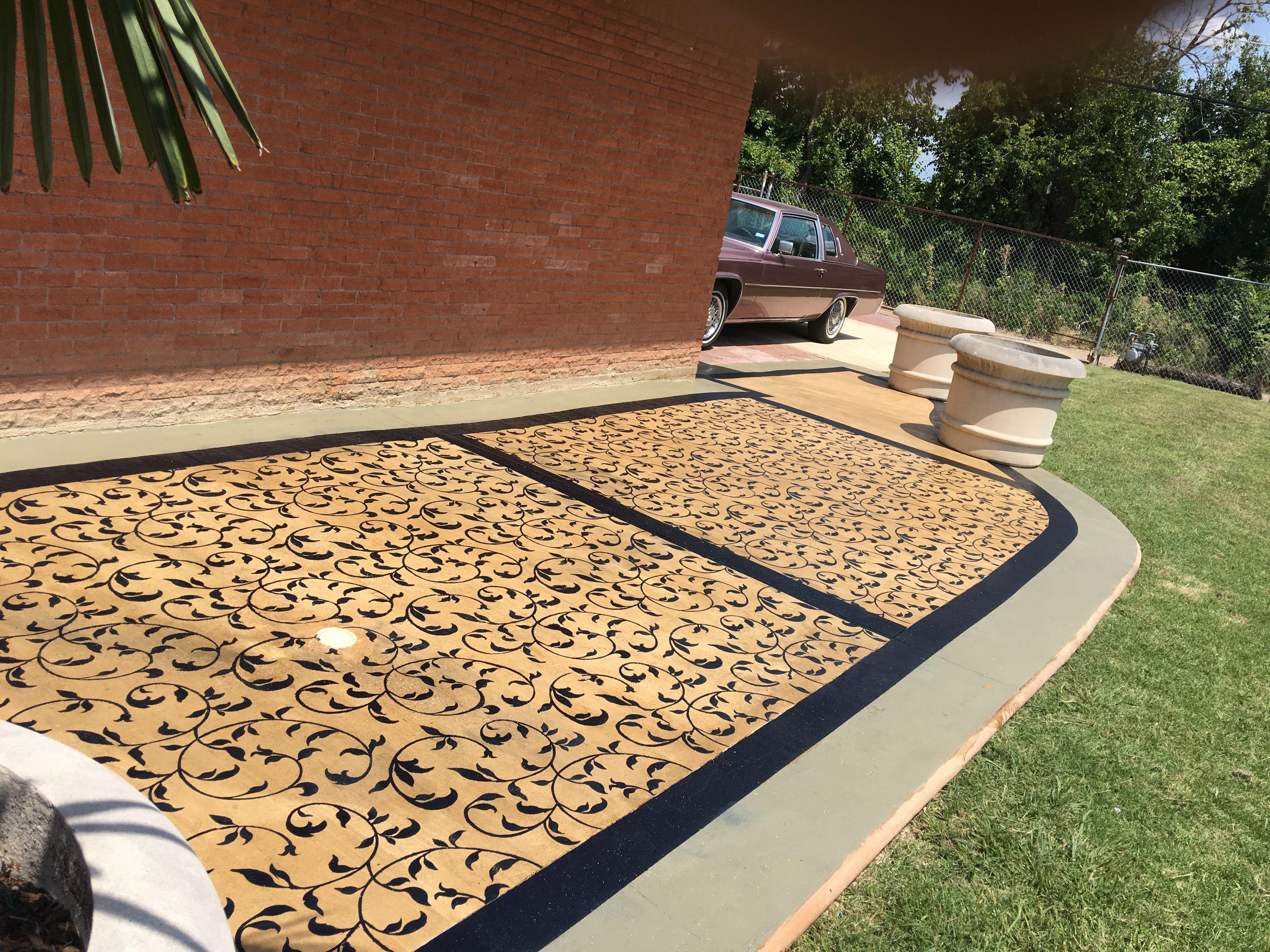 Outdoor patio porch floor concrete pattern decorative Modello