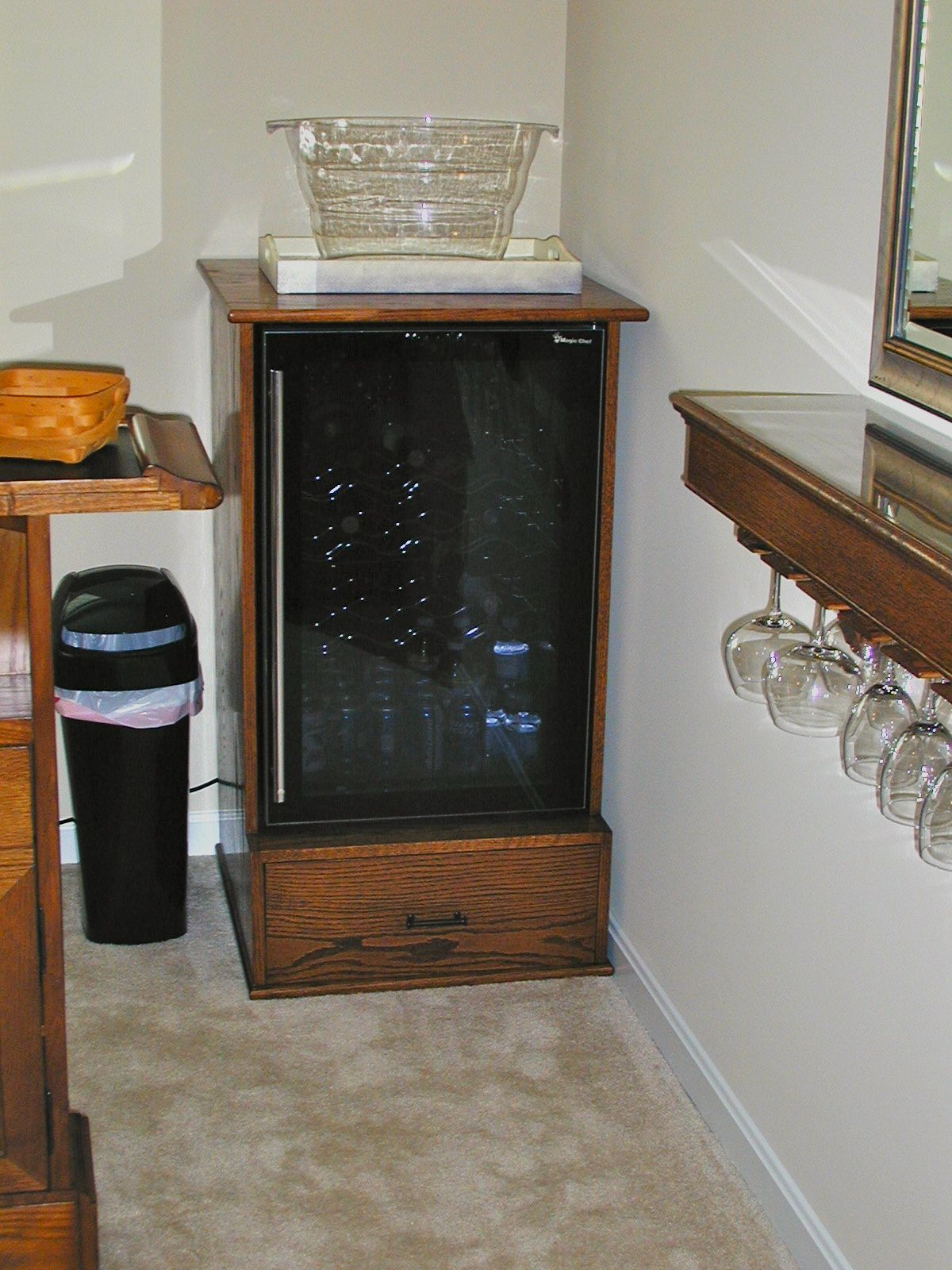 Custom Built Small Refrigerator Cabinet In Stained Oak For An Home Bar