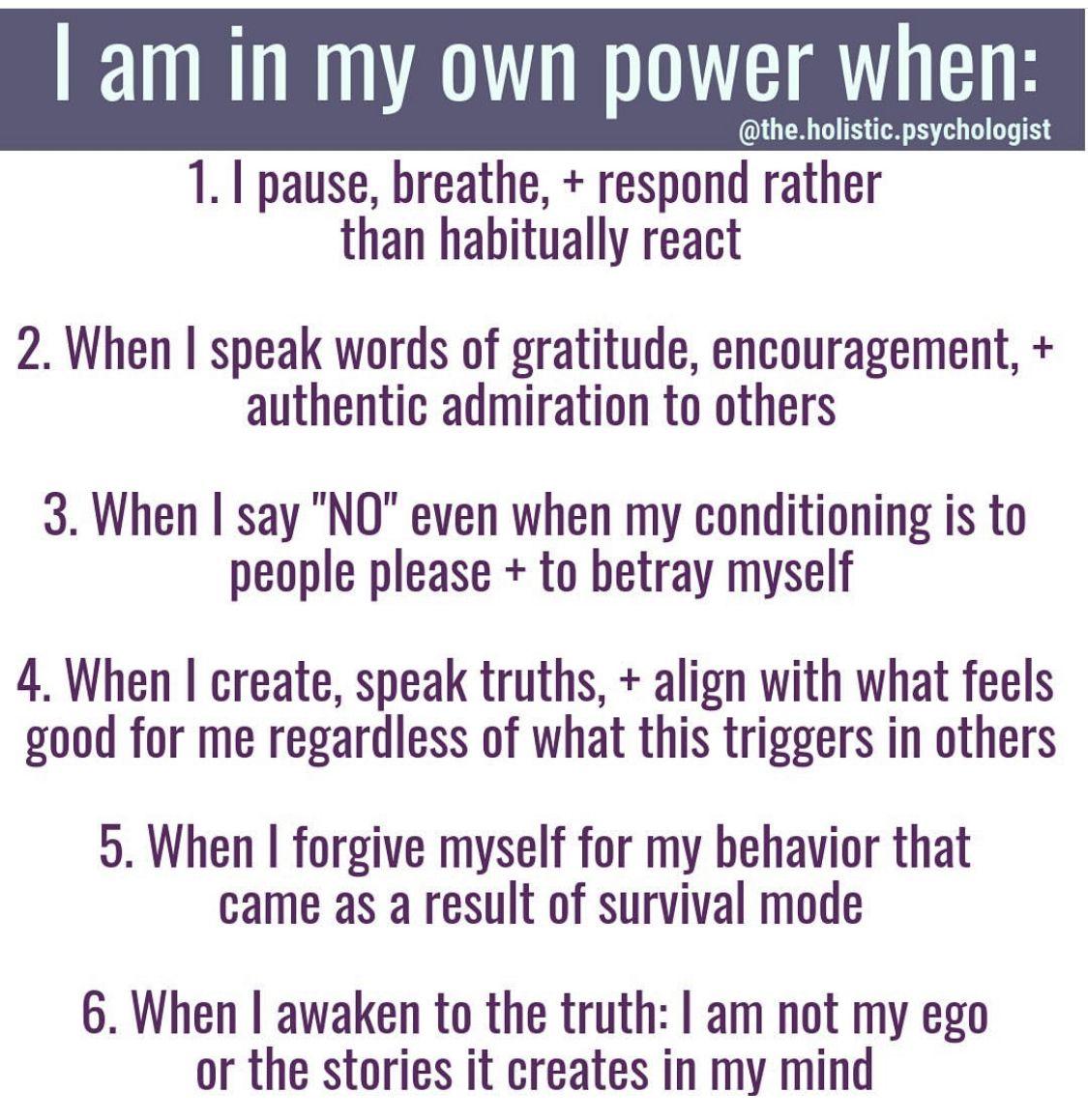 I Am In My Own Power When In