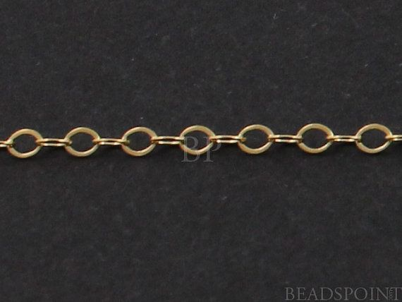 14k Gold Filled Cable Chain Lightweight Tiny Flat By Beadspoint 3 99 14k Gold Filled Cable Chain Jewelry