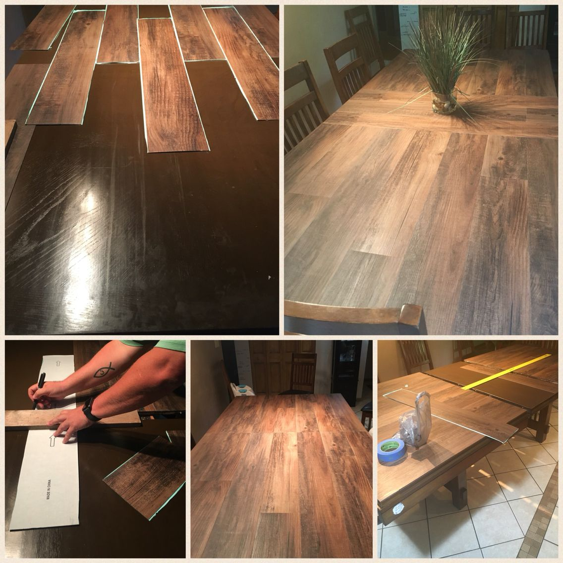 DIY Laminated Adhesive Flooring Applied To The Top Of Our