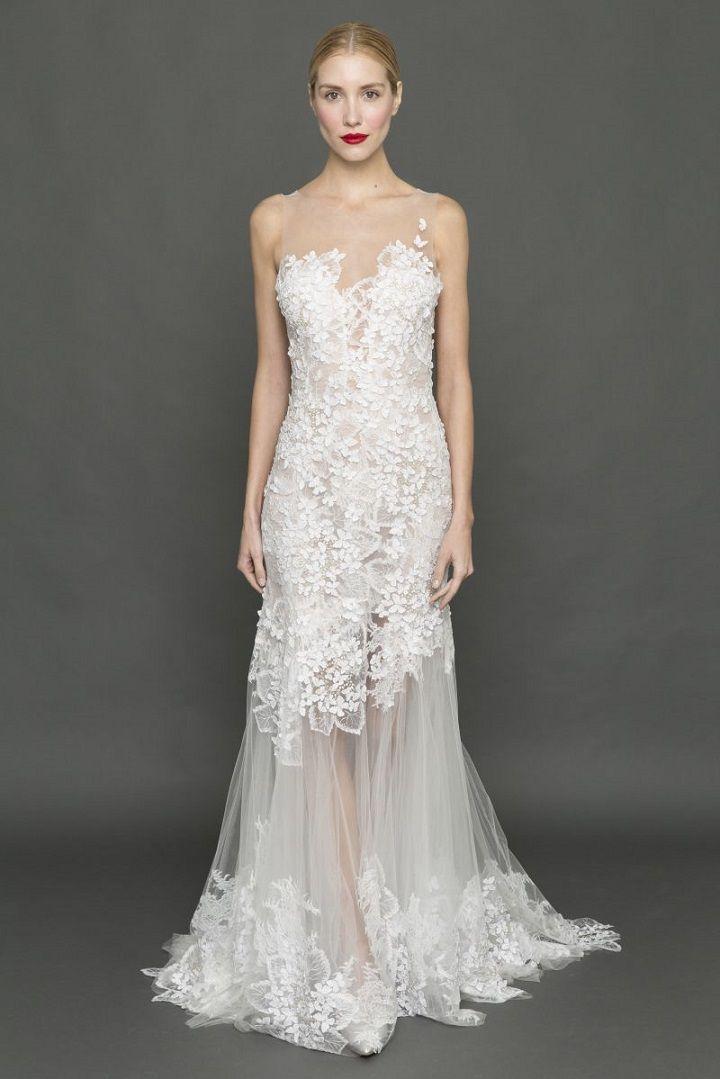 Francesca Miranda skirt floral appliqué wedding dress | itakeyou.co.uk #weddingdress #weddingdresses #strapless #bride #bridalgown #weddinggown #weddinggowns