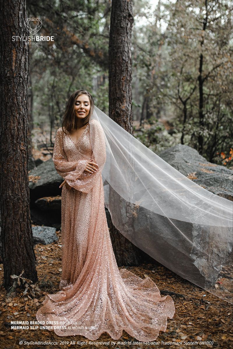 Rose Gold Boho Wedding Dress