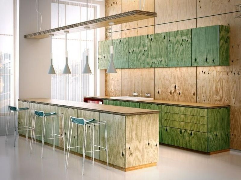 Office Kitchen In Ply Not Green Though From Osb Kitchen Cabinets Throughout Osb Kitchen Cabinets Plywood Kitchen Plywood Interior Interior