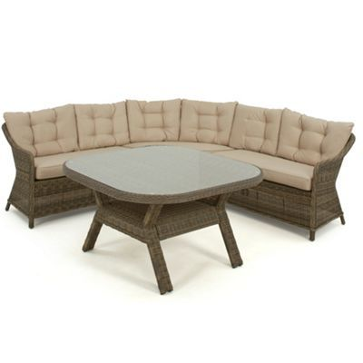 Debenhams Light brown rattan-effect \'Winchester\' round corner garden ...