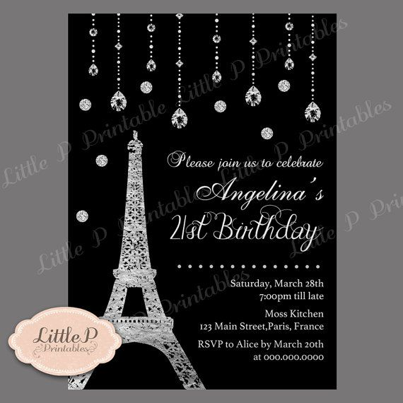 paris eiffel tower 21st birthday invitation by littlepprintables