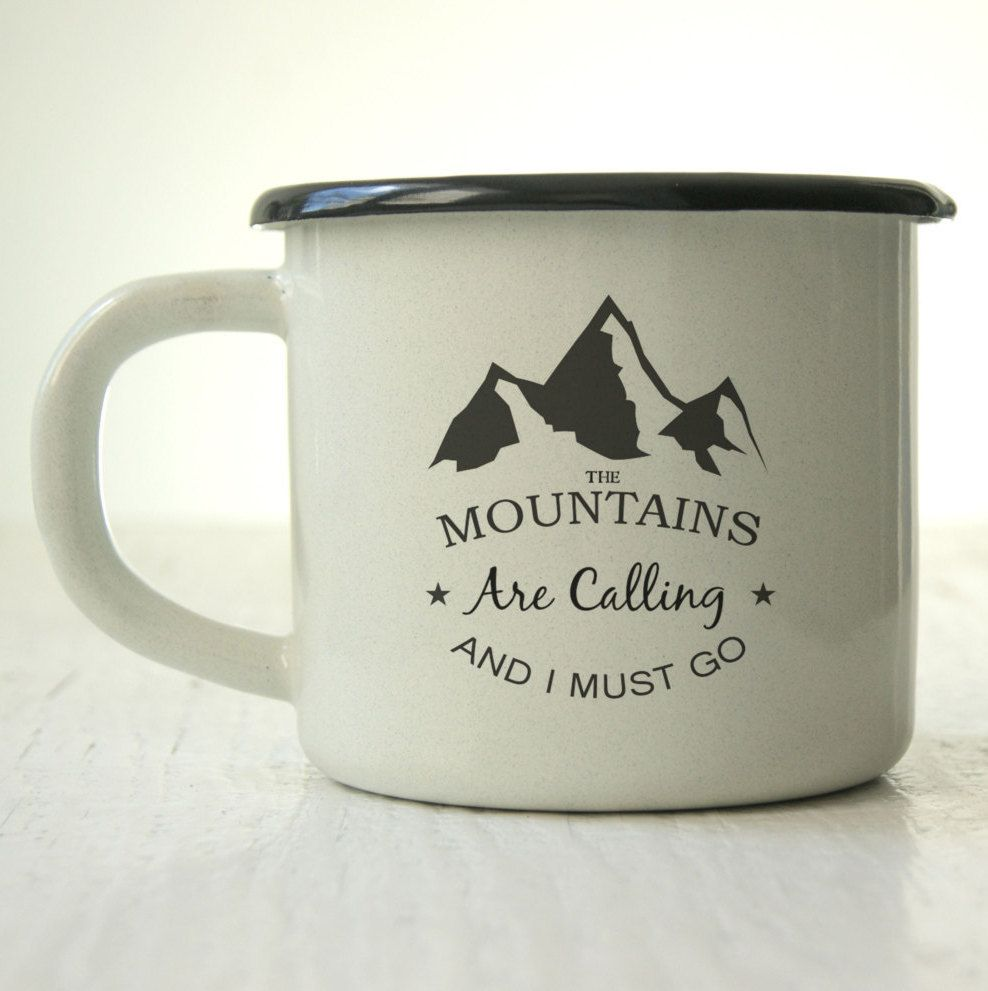 Enamel Mug - Custom Mug - Campfire Mug - Camping Mug - Personalized Mug - Coffee Mug - Tea Cup - Gift - Mountains Are Calling and I Must Go by MugYourself on Etsy #custommugs