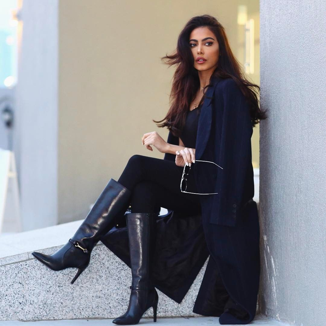 Winter And Fall Fashion, Beautiful Black Coat And Hat
