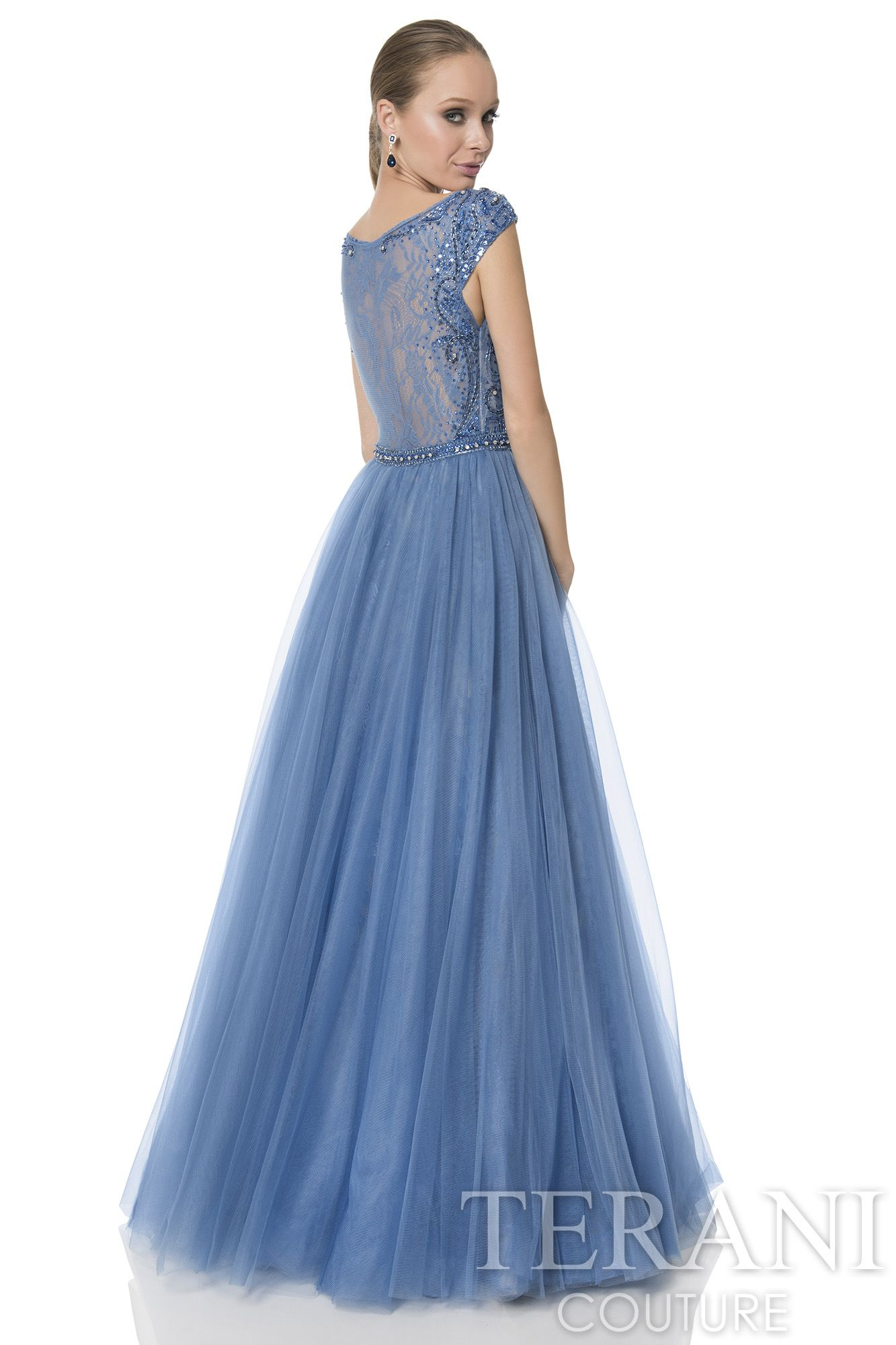 Cap+sleeve+prom+gown+with+illusion+neck+and+back.+This+prom+dress+is ...