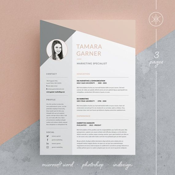 Tamara Resume/CV / Cover letter / Template / 3 Page Design / Word ...