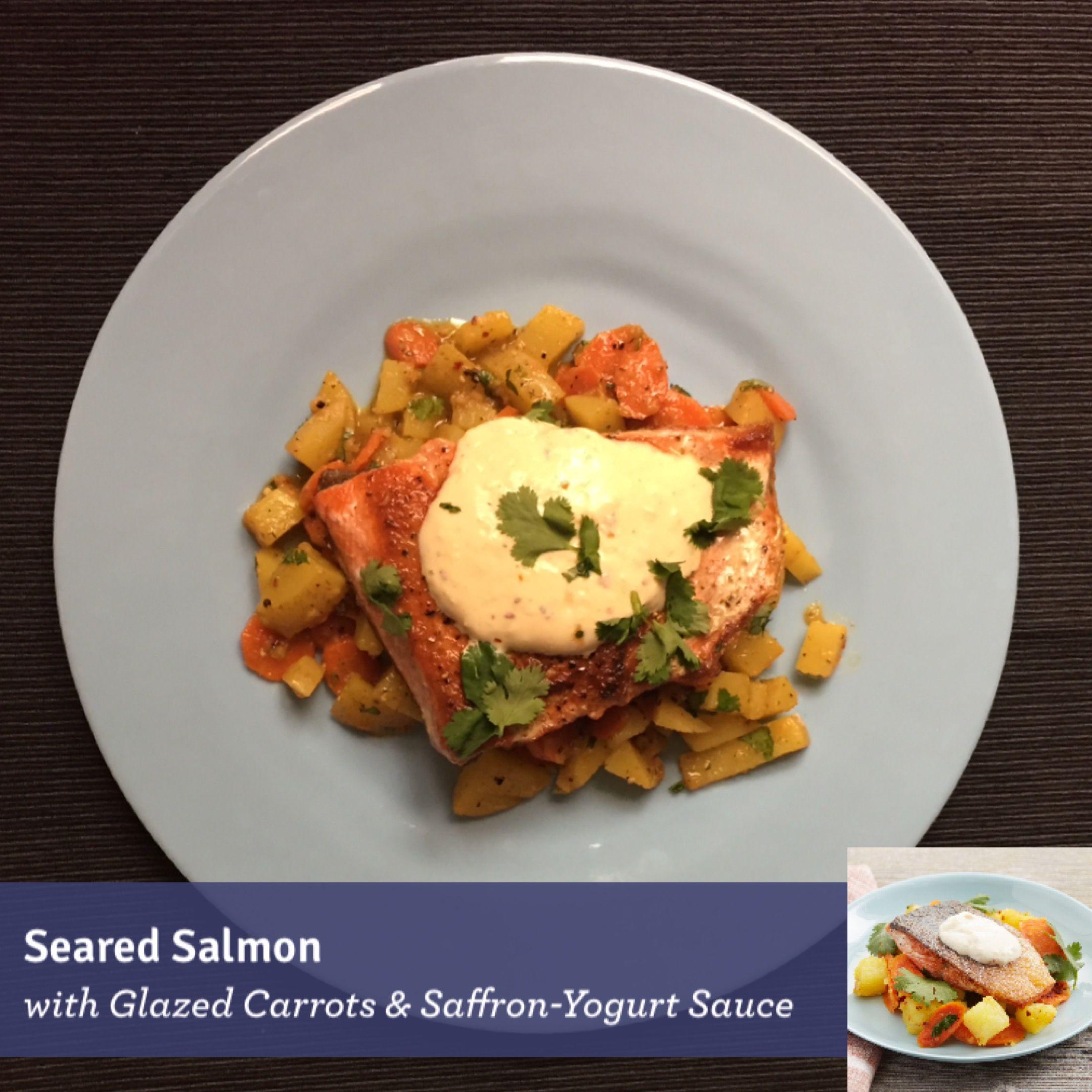 Blue apron salmon - Seared Salmon With Glazed Carrots Saffron Yogurt Sauce Http Dlink Glazed Carrotsblue Apronyogurt Sauce