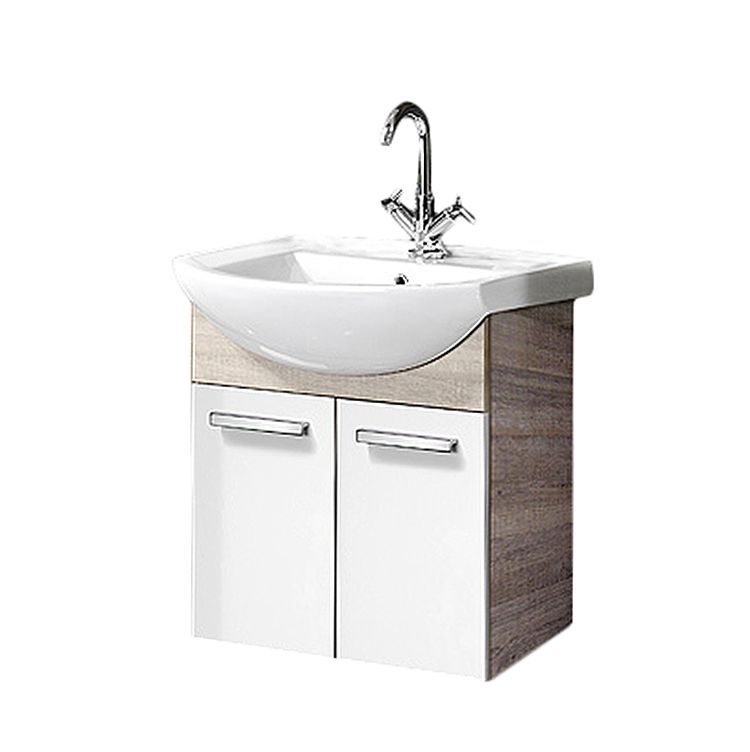 Waschbeckenunterschrank A-Vero - Eiche Sonoma/Weiß Hochglanz ...