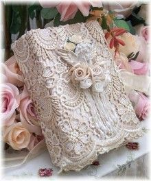 lace covered book-----find some vintage lace at a yard sale or Goodwill and cover a book...beautiful