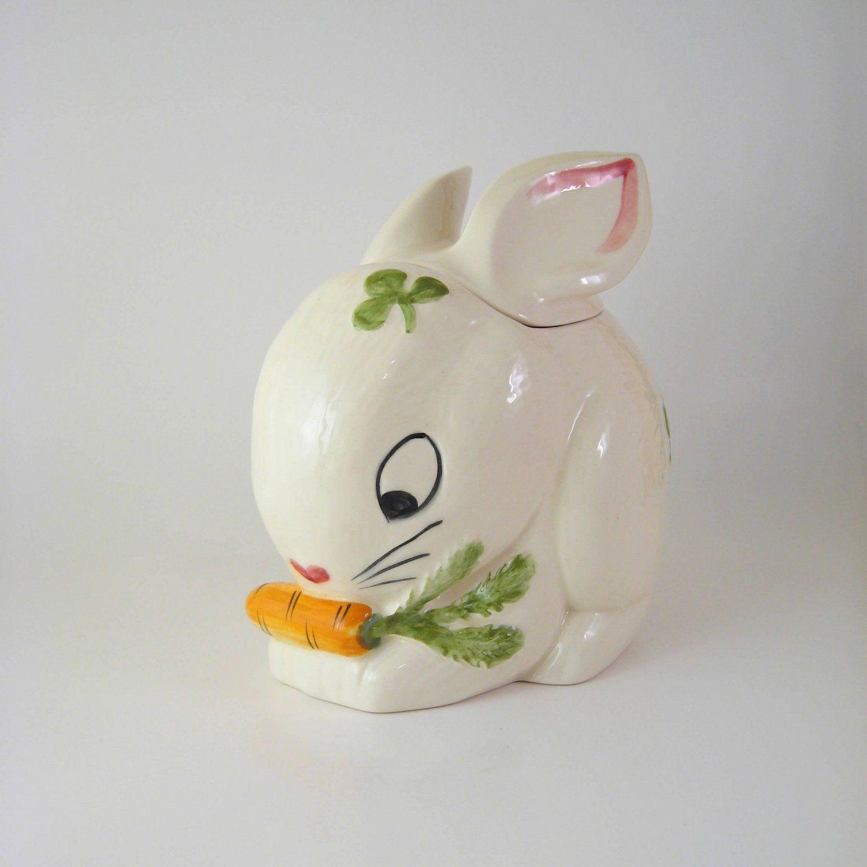 Detail -vintage Bunny Rabbit Cookie Jar White
