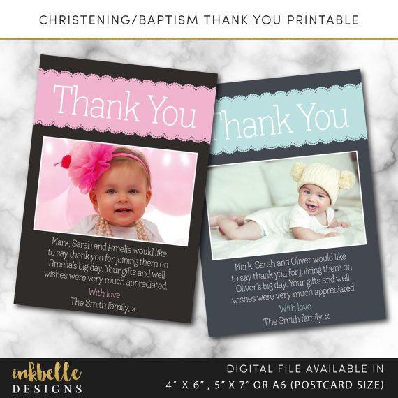 Baptism Thank You Card Christening Thank You Card I Design Digital File You Print