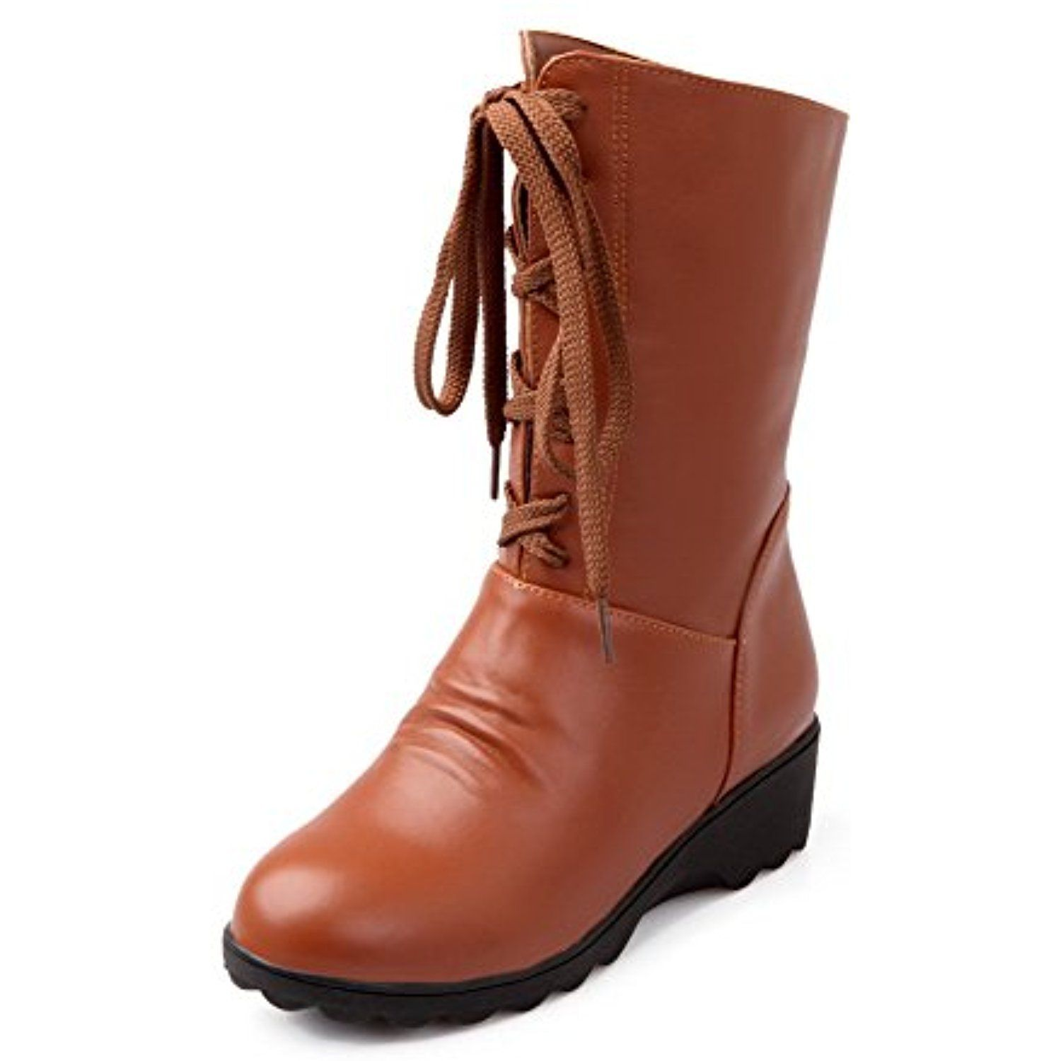 Women's High-Heels Solid Round Closed Toe Soft Material Lace Up Boots